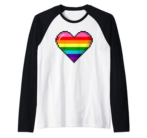 Gilbert Baker Original LGBTQ Gay Pride 8-Bit Pixel Heart Raglan Baseball Tee