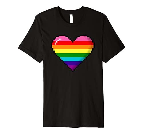 Gilbert Baker Original LGBTQ Gay Pride 8-Bit Pixel Heart Premium T-Shirt