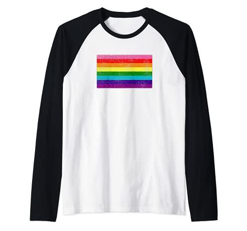 Distressed Original LGBT Gay Pride Flag Raglan Baseball Tee