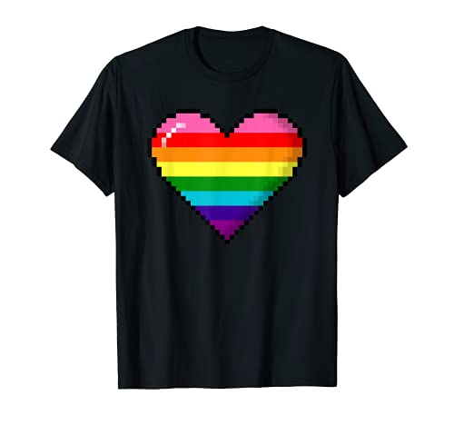 Gilbert Baker Original LGBTQ Gay Pride 8-Bit Pixel Heart T-Shirt