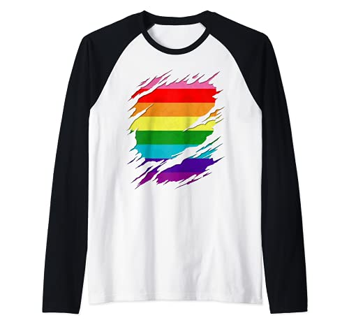 Original Gilbert Baker LGBT Gay Pride Flag Ripped Reveal Raglan Baseball Tee