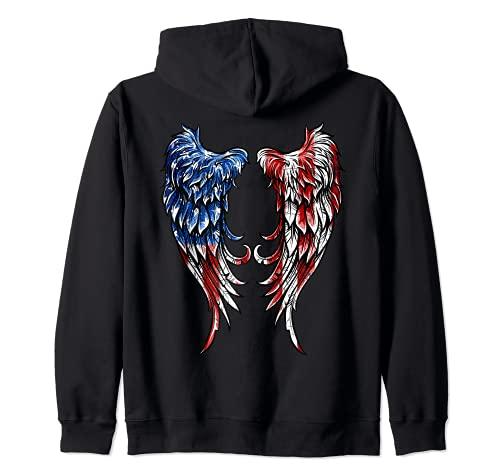 Distressed American Flag Angel Wings Zip Hoodie