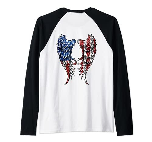 Distressed American Flag Angel Wings Raglan Baseball Tee