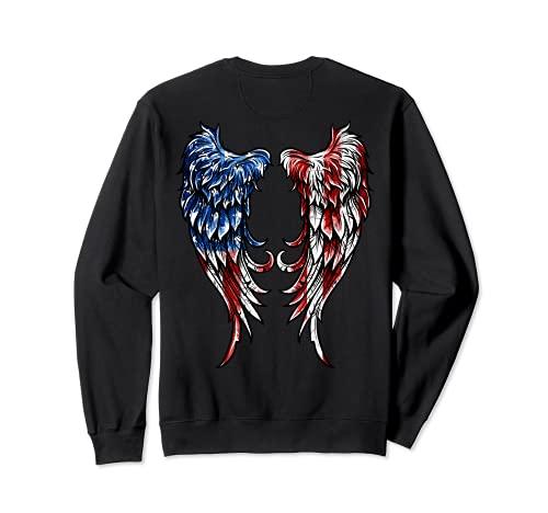 Distressed American Flag Angel Wings Sweatshirt