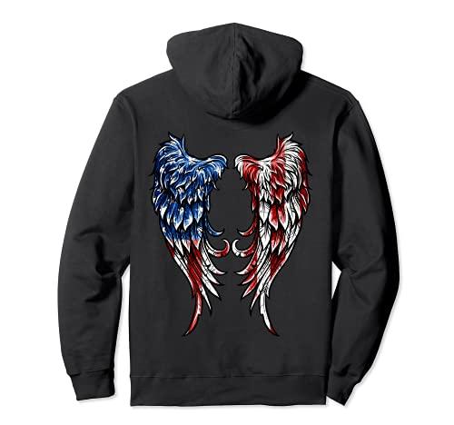Distressed American Flag Angel Wings Pullover Hoodie