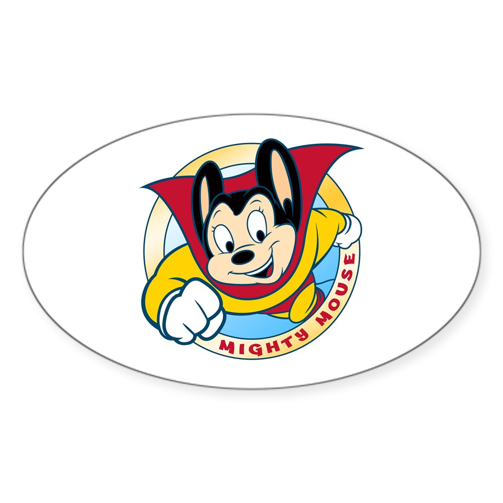 Mighty Mouse Oval Sticker