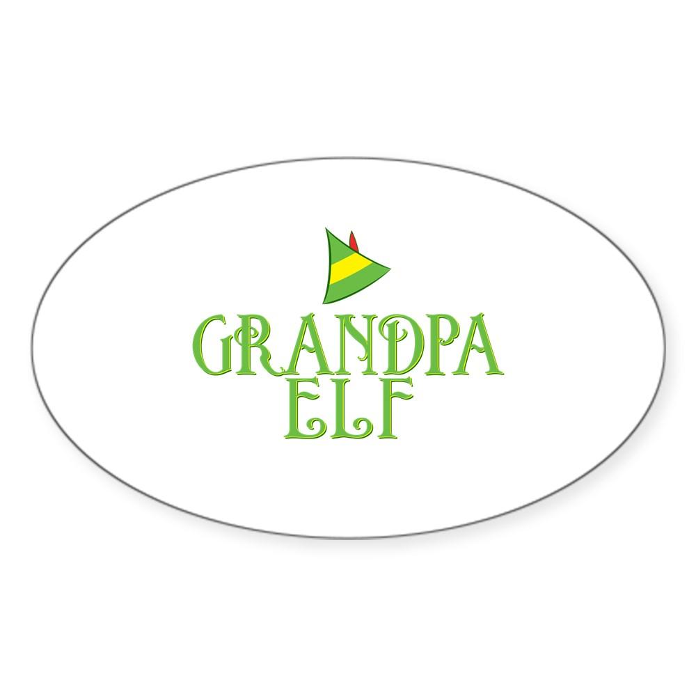 Grandpa Elf Oval Sticker