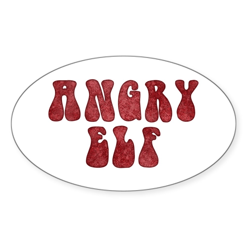 Angry Elf Oval Sticker