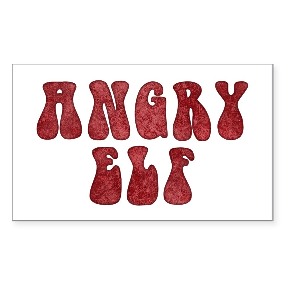 Angry Elf Rectangle Sticker