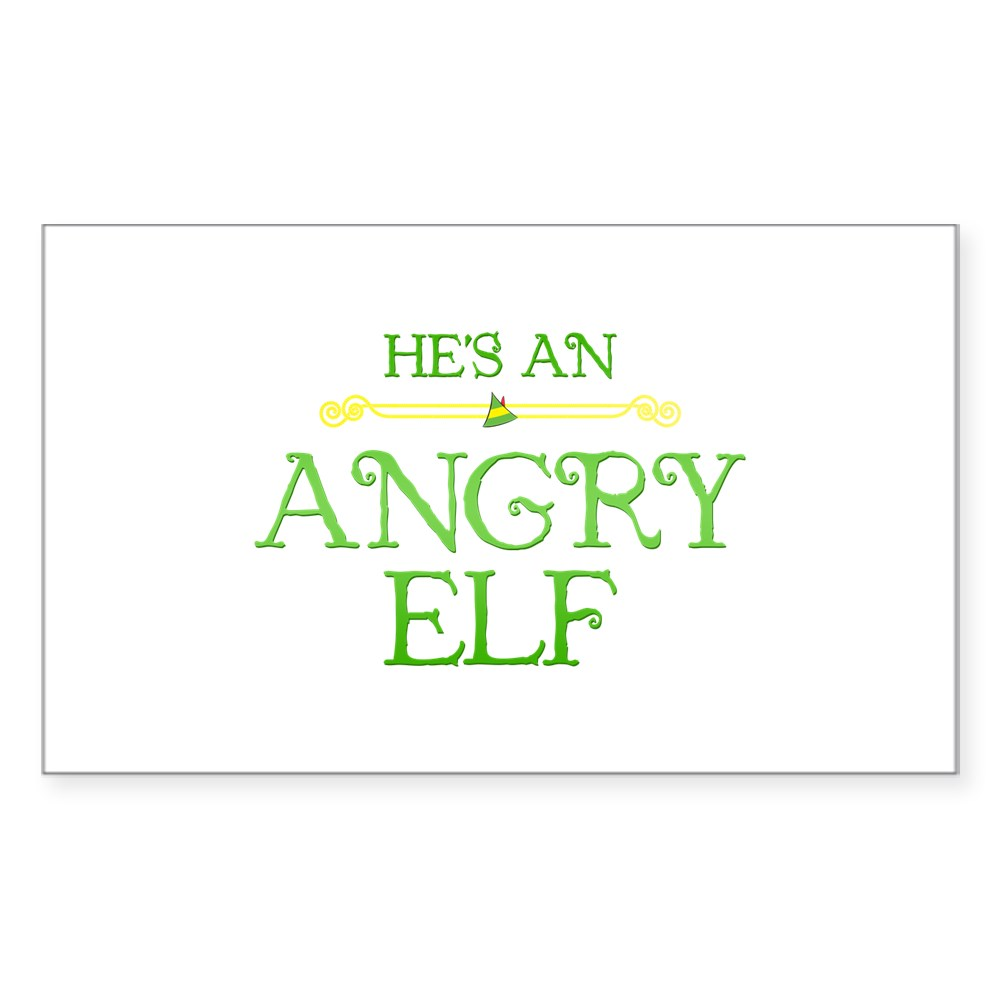 He's an Angry Elf Rectangle Sticker
