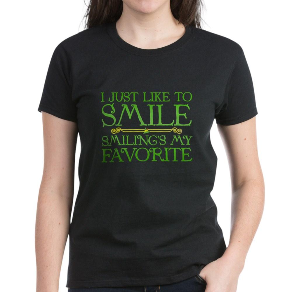 I Just Like to Smile, Smiling's My Favorite Women's Dark T-Shirt