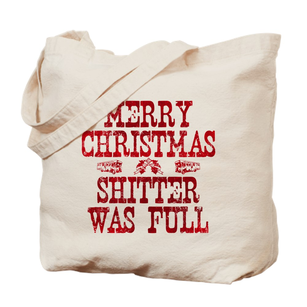 Red Merry Christmas, Shitter Was Full Tote Bag