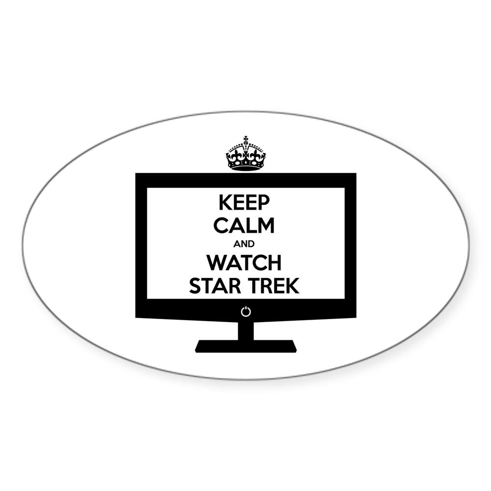 Keep Calm and Watch Star Trek Oval Sticker
