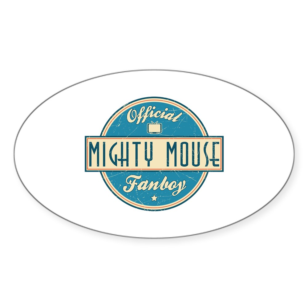 Official Mighty Mouse Fanboy Oval Sticker