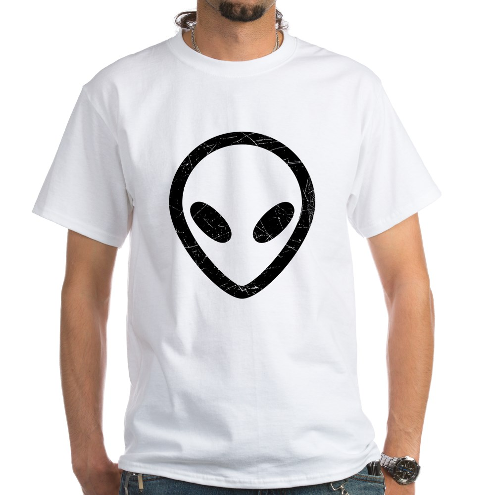 Black Distressed Alien Head White T-Shirt