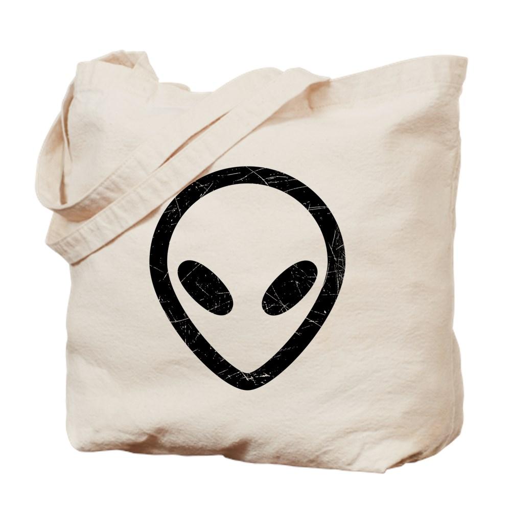 Black Distressed Alien Head Tote Bag