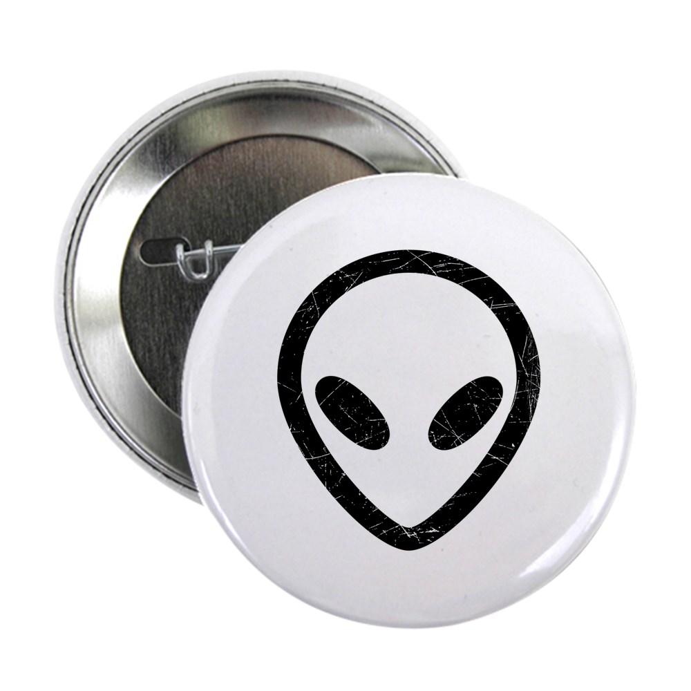 Black Distressed Alien Head 2.25