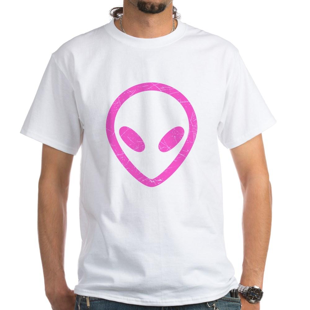Hot Pink Distressed Alien Head White T-Shirt