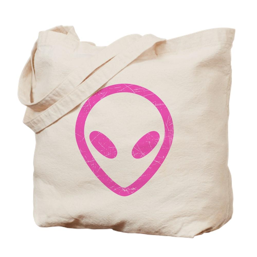 Hot Pink Distressed Alien Head Tote Bag