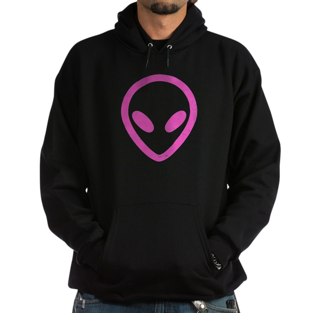 Hot Pink Distressed Alien Head Dark Hoodie