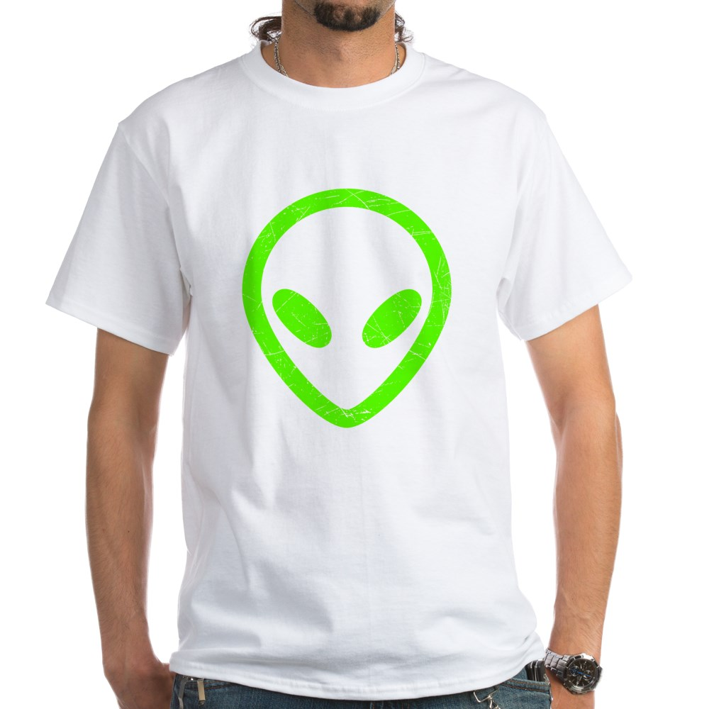 Neon Green Distressed Alien Head White T-Shirt