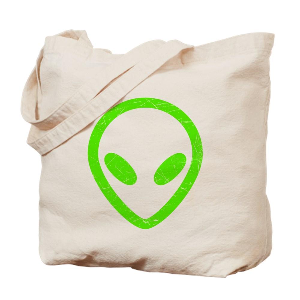 Neon Green Distressed Alien Head Tote Bag