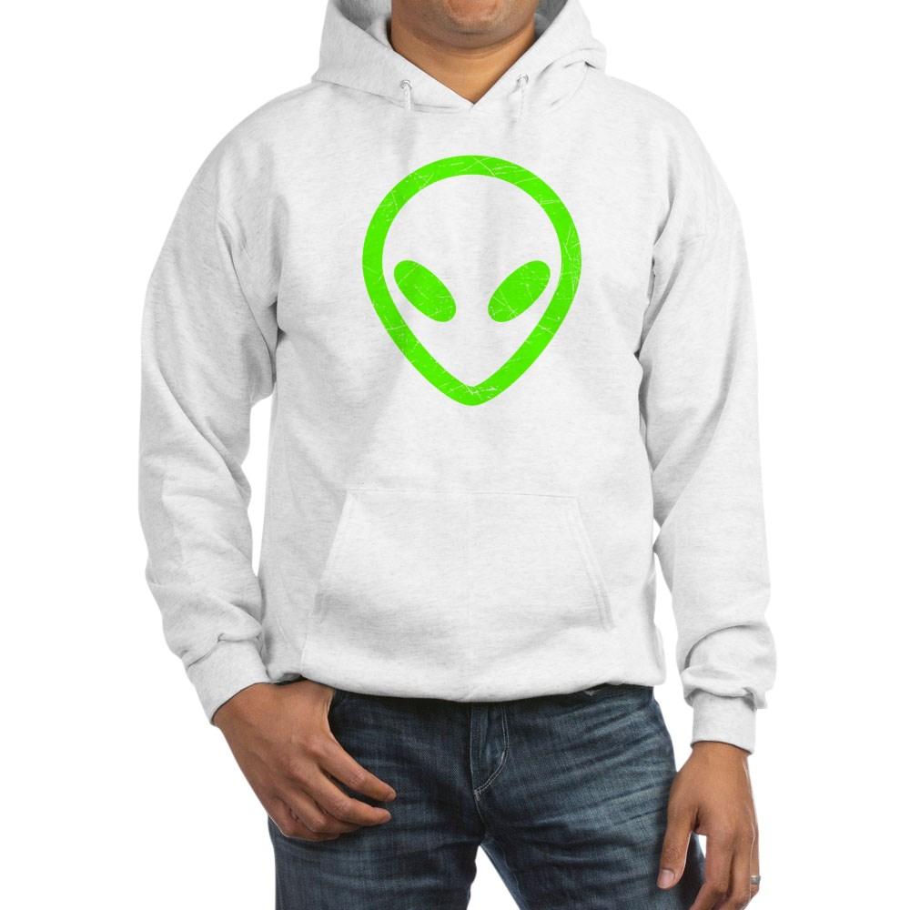 Neon Green Distressed Alien Head Hooded Sweatshirt