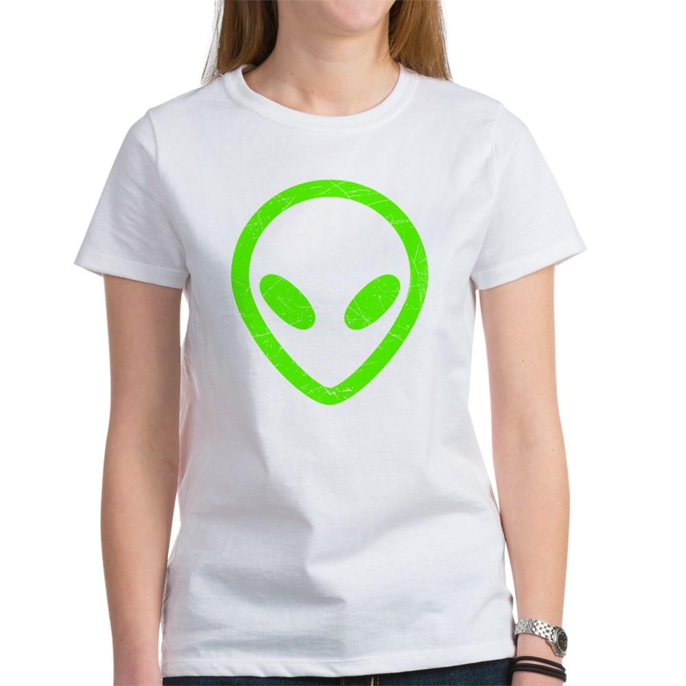 Neon Green Distressed Alien Head Women's T-Shirt