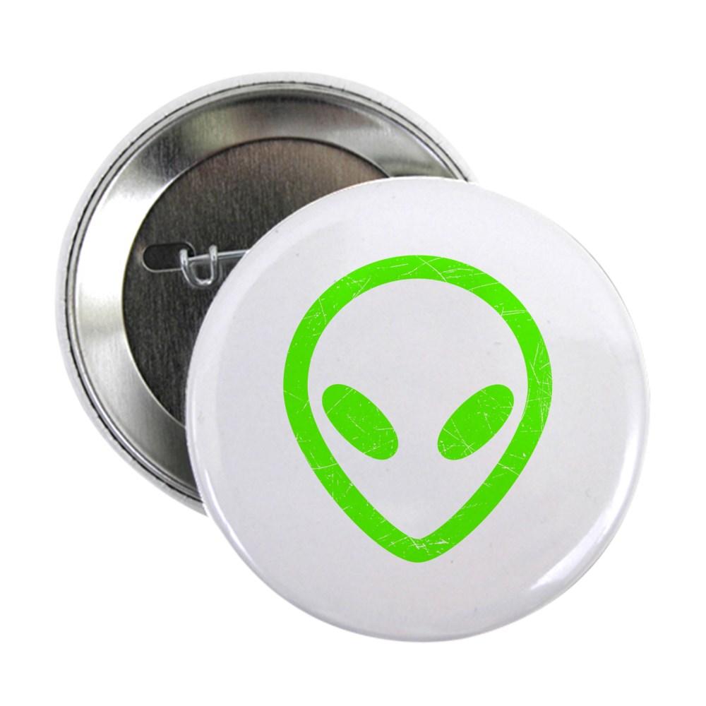 Neon Green Distressed Alien Head 2.25