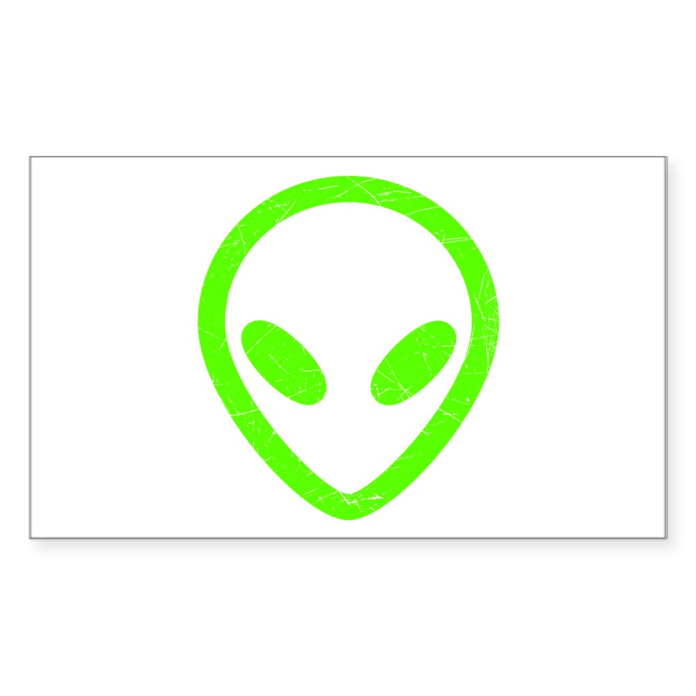 Neon Green Distressed Alien Head Rectangle Sticker