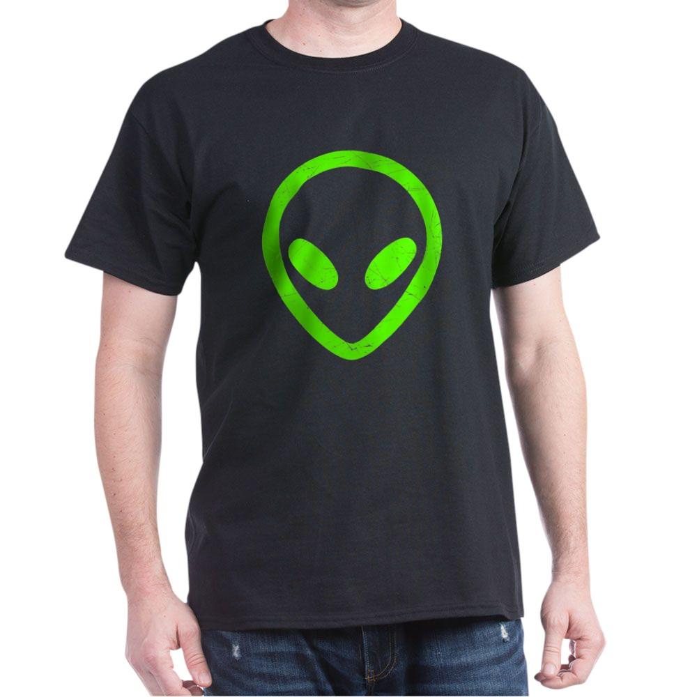 Neon Green Distressed Alien Head Dark T-Shirt
