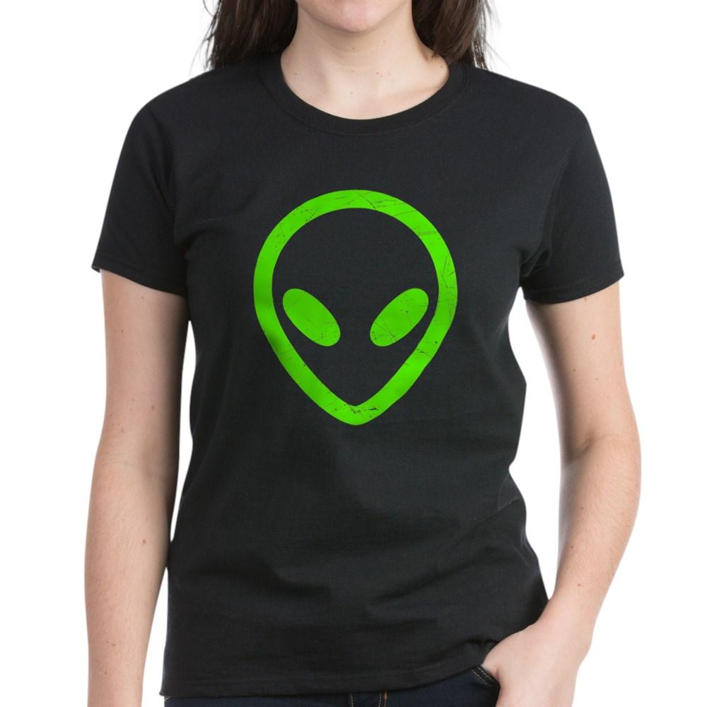 Neon Green Distressed Alien Head Women's Dark T-Shirt
