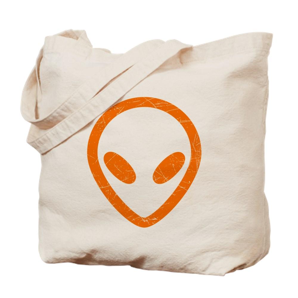 Bright Orange Distressed Alien Head Tote Bag