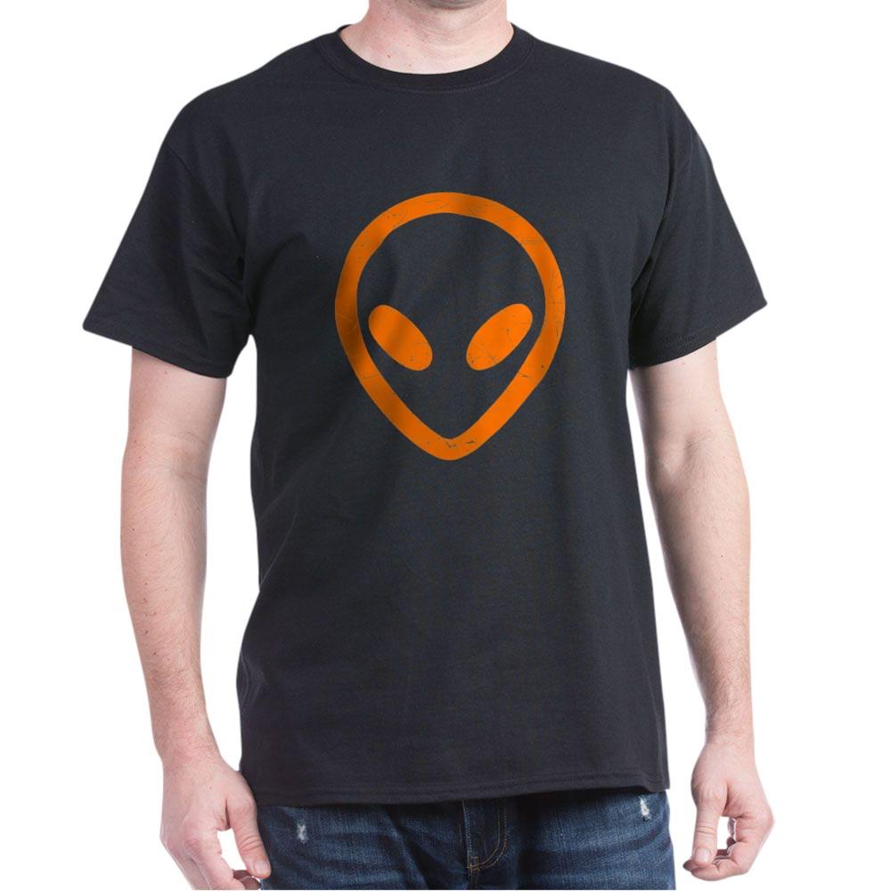 Bright Orange Distressed Alien Head Dark T-Shirt