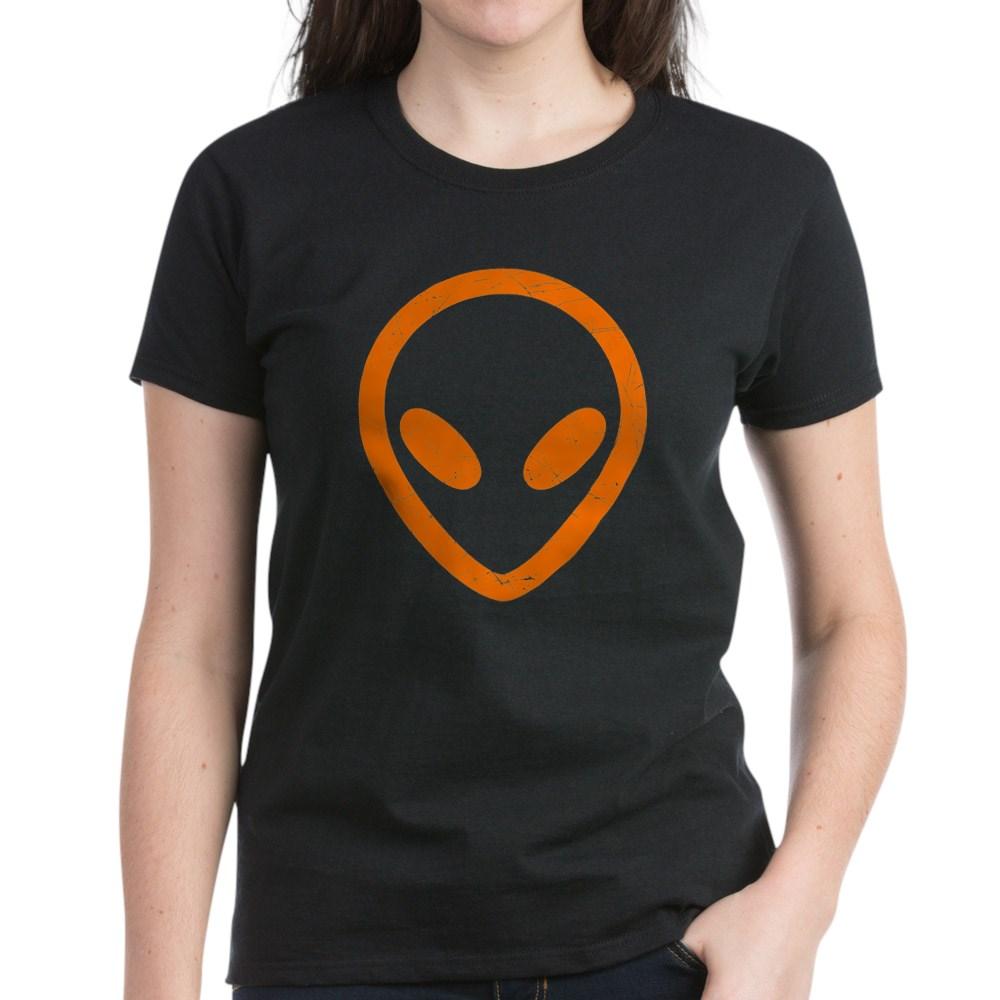 Bright Orange Distressed Alien Head Women's Dark T-Shirt