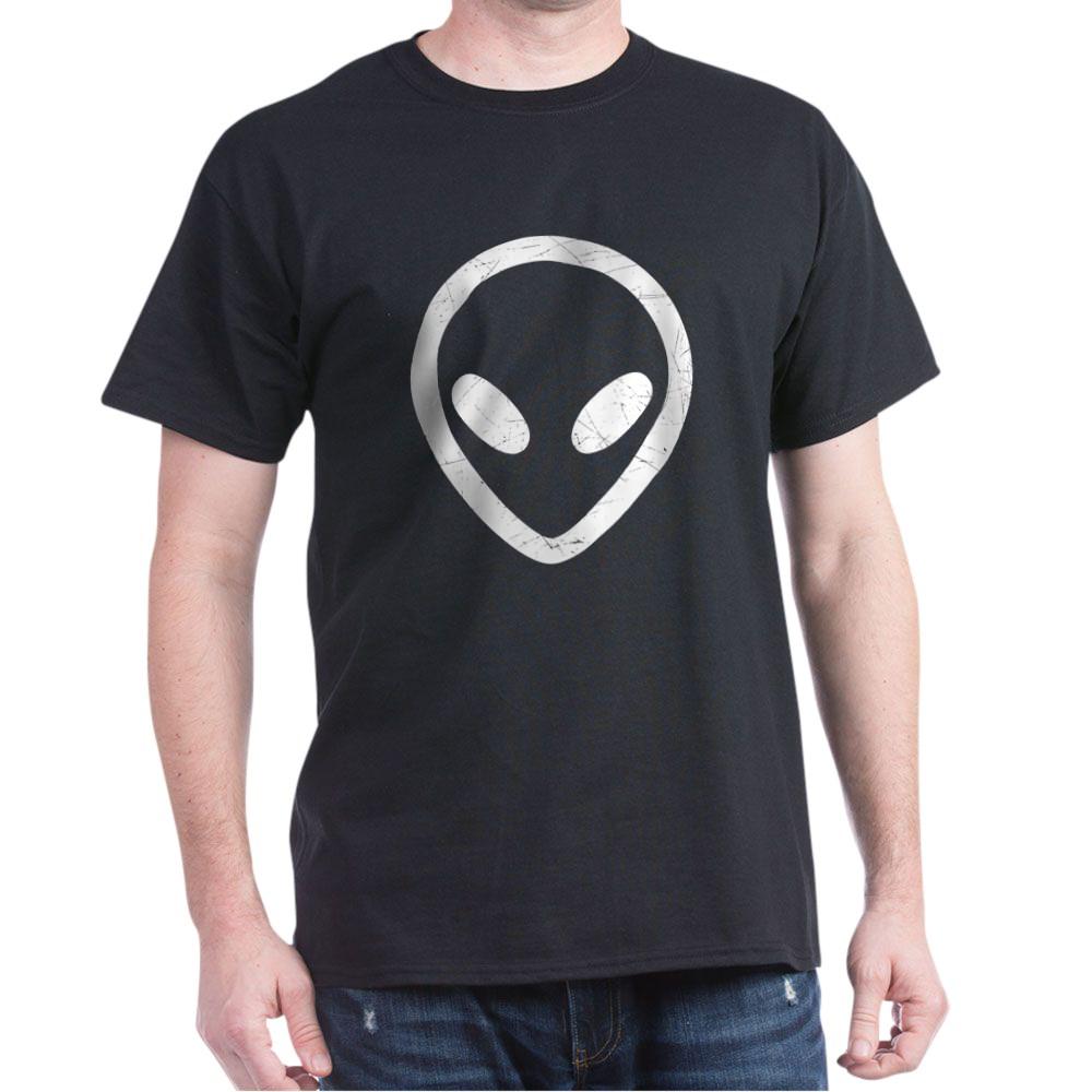 White Distressed Alien Head Dark T-Shirt
