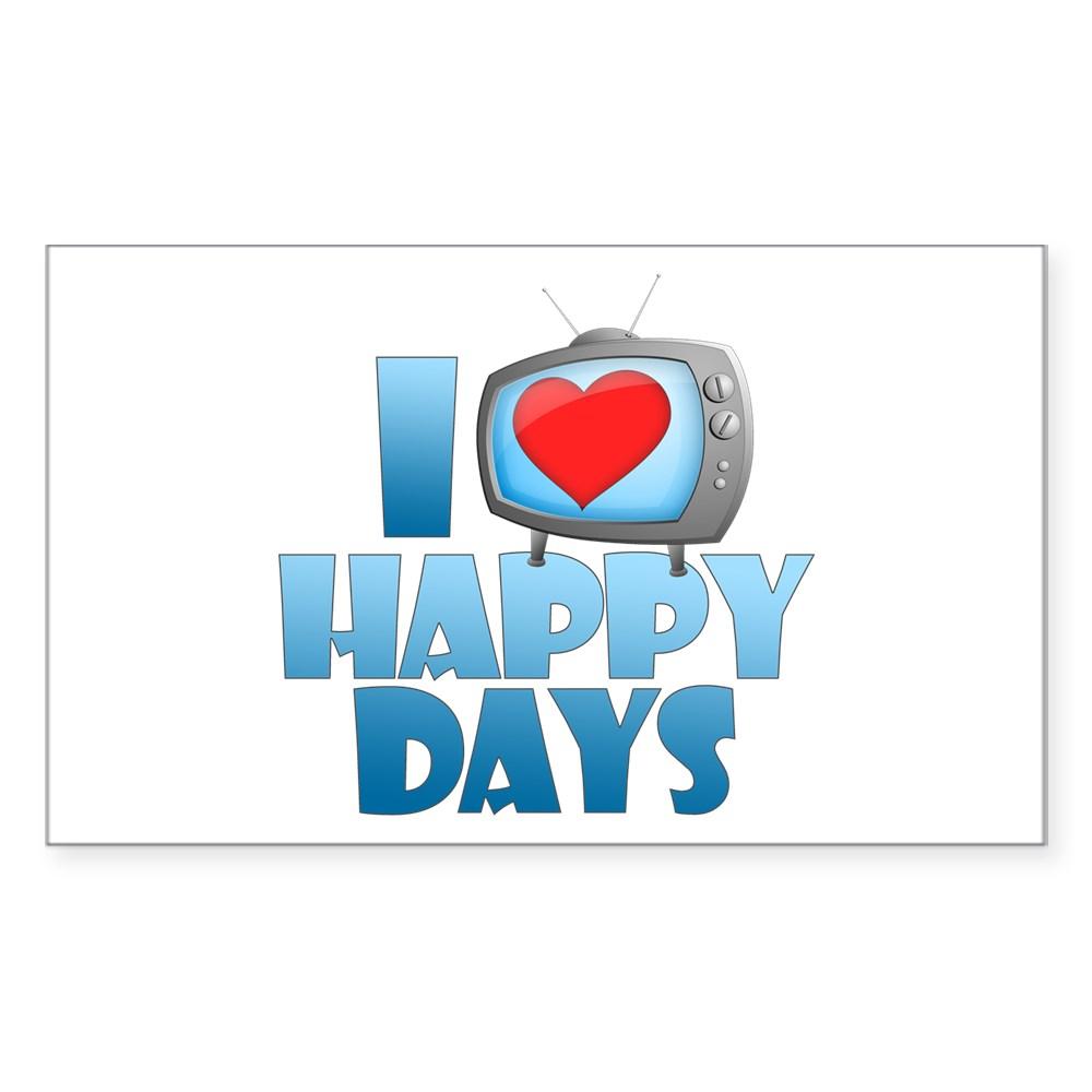 I Heart Happy Days Rectangle Sticker