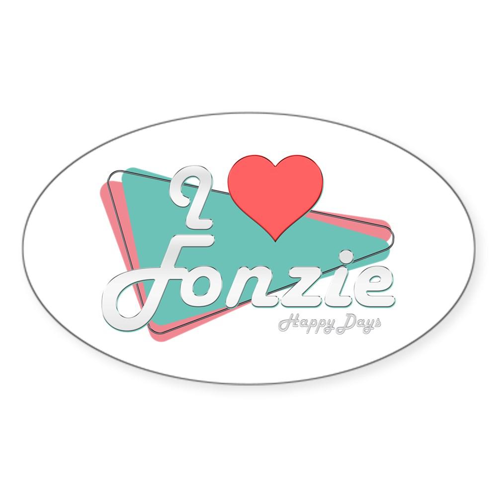 I Heart Fonzie Oval Sticker