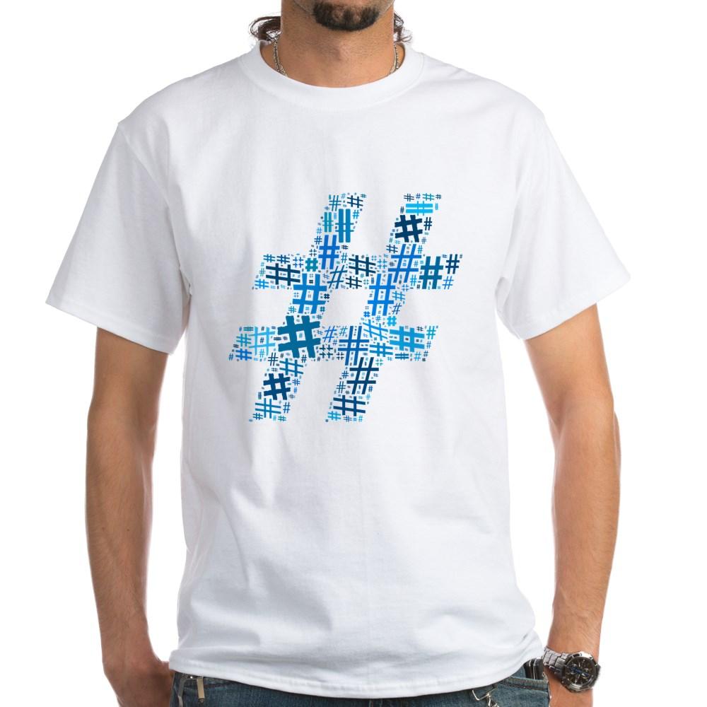 Blue Hashtag Cloud White T-Shirt