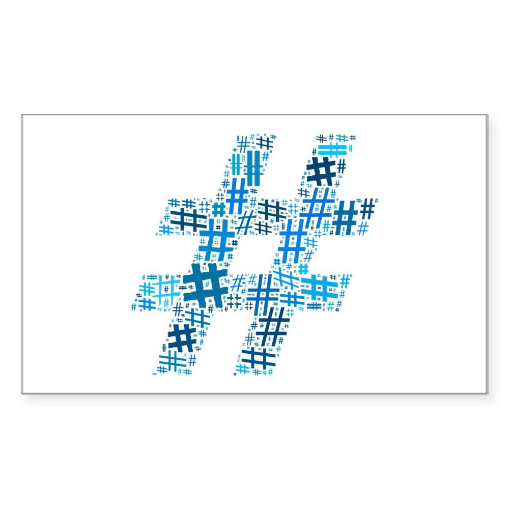 Blue Hashtag Cloud Rectangle Sticker