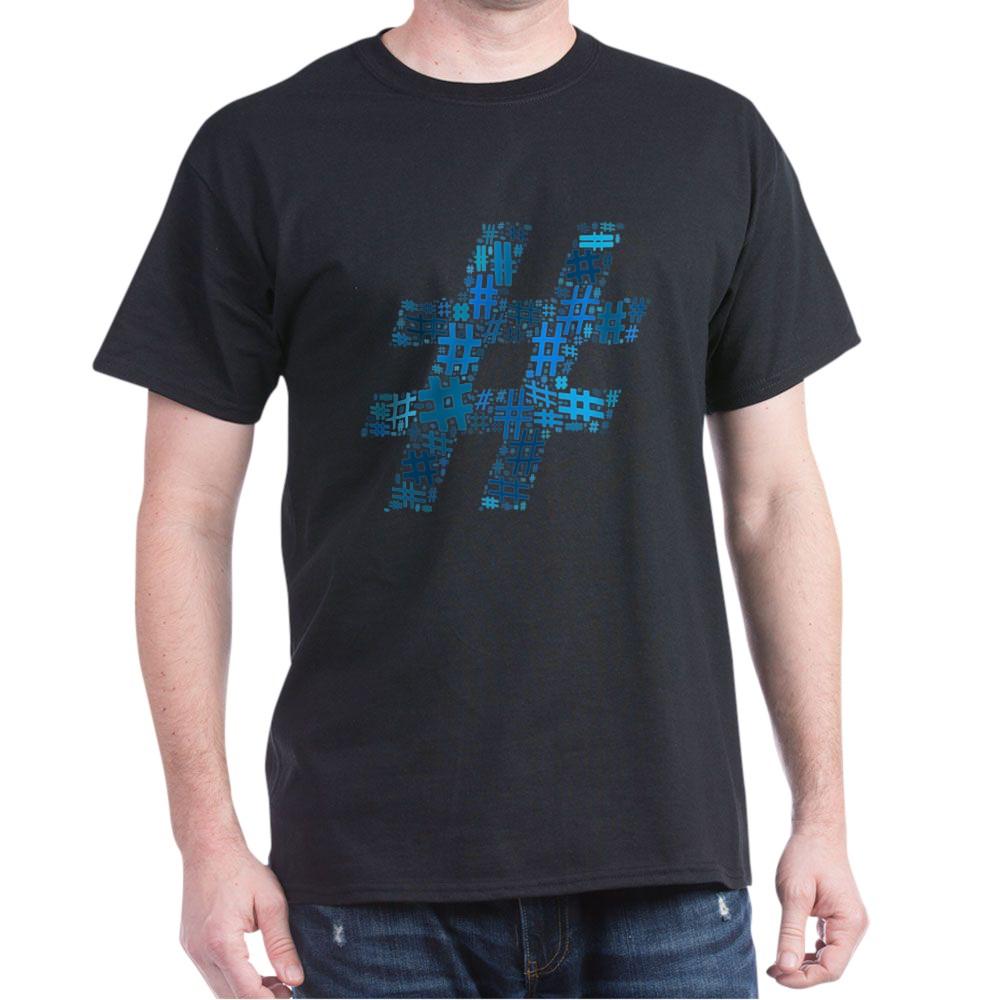 Blue Hashtag Cloud Dark T-Shirt