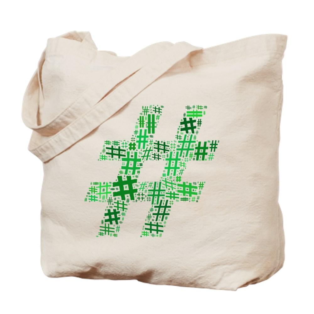 Green Hashtag Cloud Tote Bag