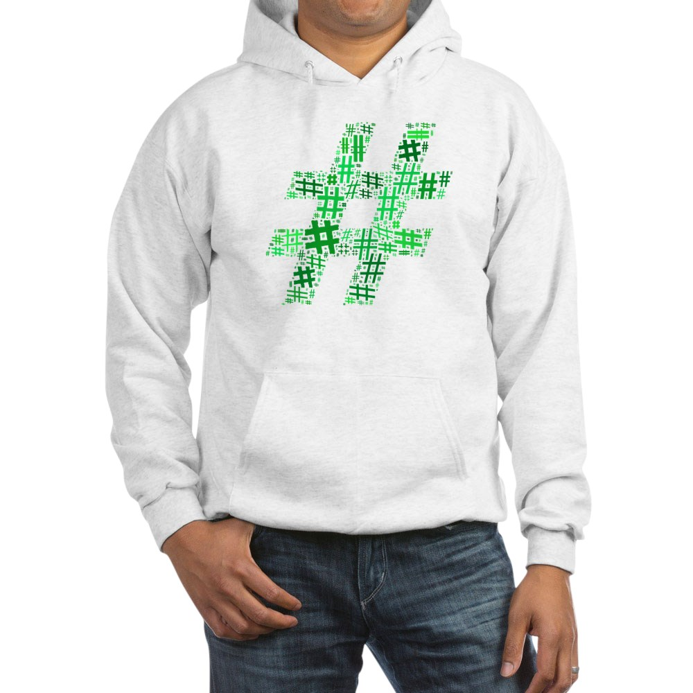 Green Hashtag Cloud Hooded Sweatshirt