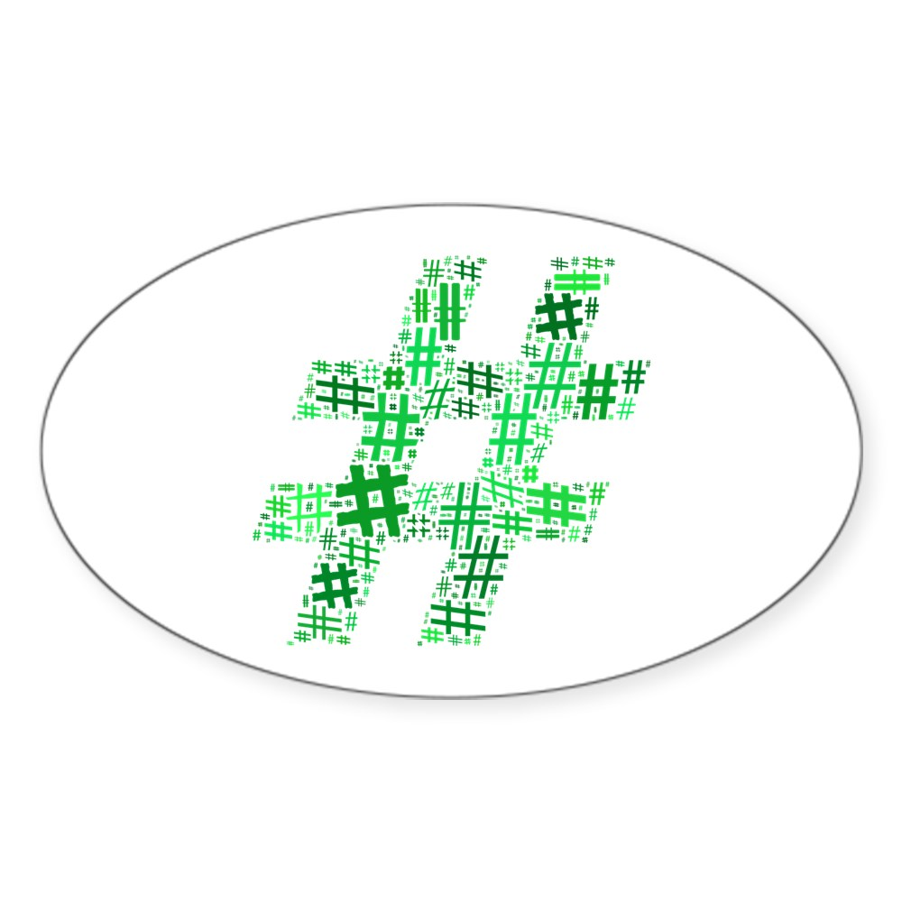 Green Hashtag Cloud Oval Sticker