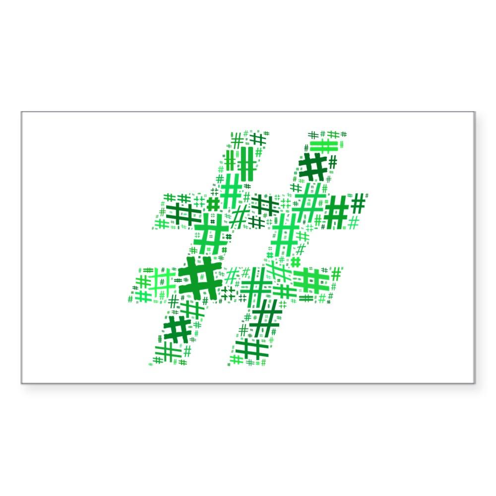 Green Hashtag Cloud Rectangle Sticker