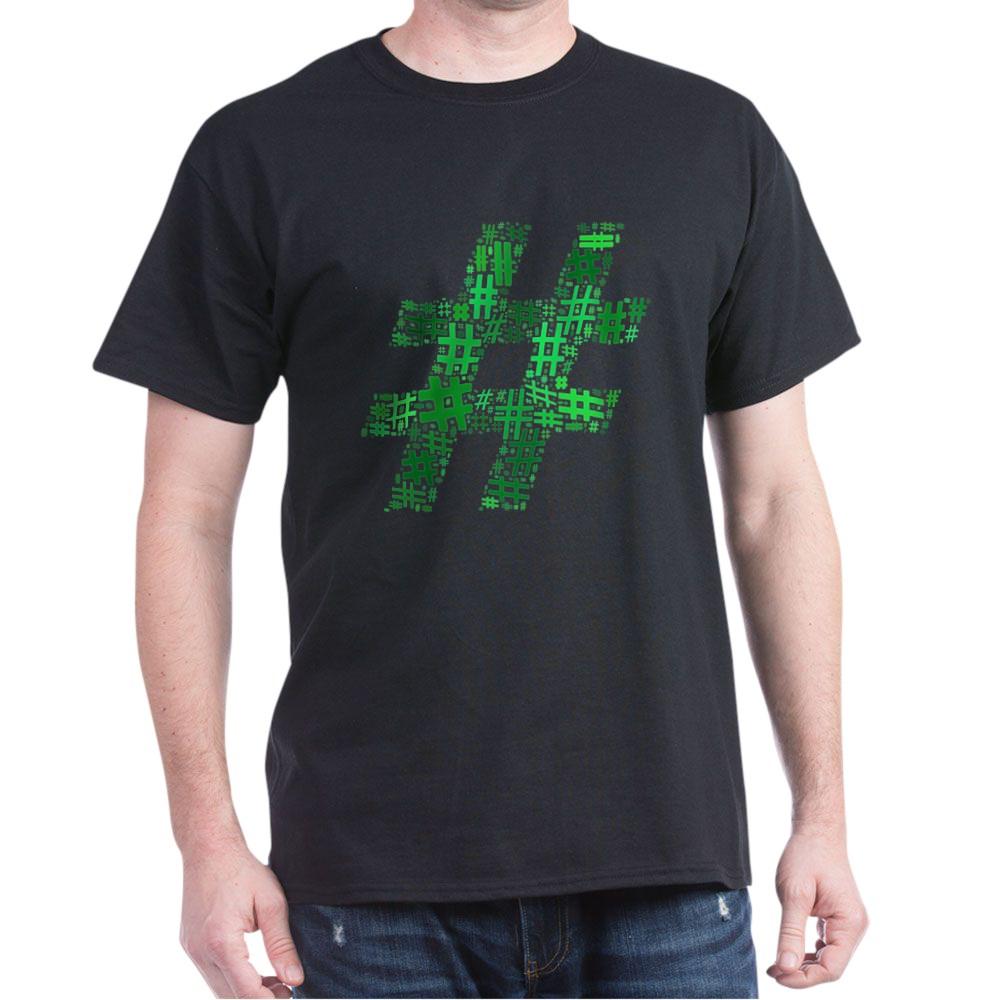 Green Hashtag Cloud Dark T-Shirt