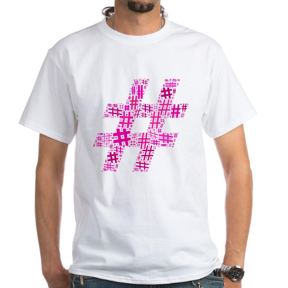 Pink Hashtag Cloud White T-Shirt