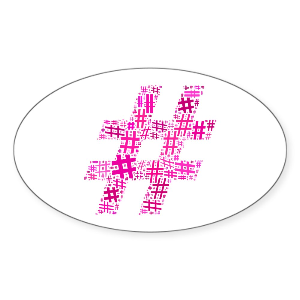 Pink Hashtag Cloud Oval Sticker