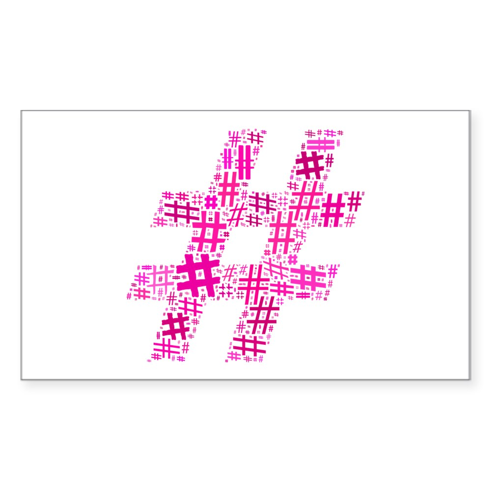 Pink Hashtag Cloud Rectangle Sticker
