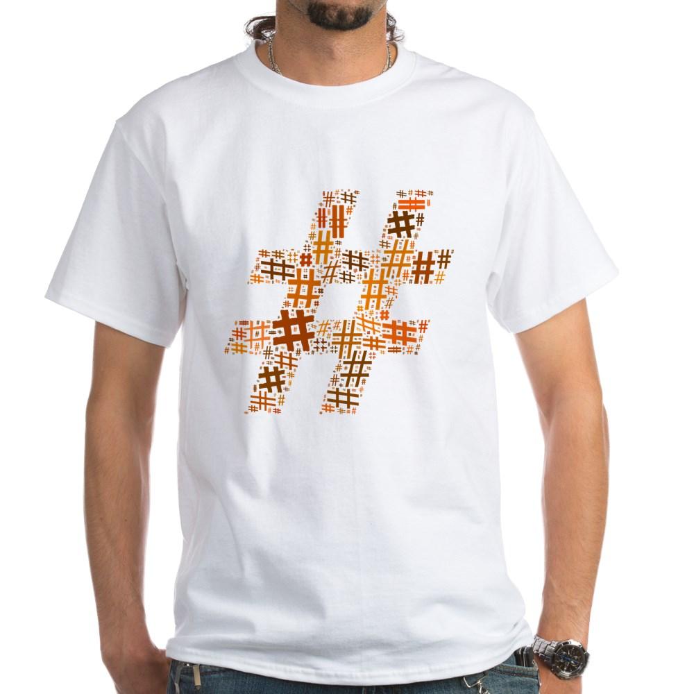 Orange Hashtag Cloud White T-Shirt